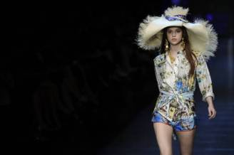 A model displays a creation as part of D&G Spring-Summer 2012 ready-to-wear collection on September 22, 2011 during the Milan's women fashion week. AFP PHOTO / FILIPPO MONTEFORTE (Photo by Filippo MONTEFORTE / AFP) (Photo by FILIPPO MONTEFORTE/AFP via Getty Images)