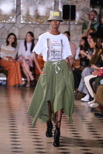 PARIS, FRANCE - SEPTEMBER 24: A model walks the runway during the Victoria/Tomas Womenswear Spring/Summer 2020 show as part of Paris Fashion Week At Faust on September 24, 2019 in Paris, France. (Photo by Laurent Viteur/WireImage)