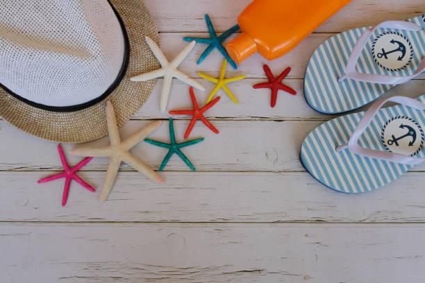 Summer Beach Accessories On White Background. Summer Concept