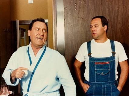 Italian actor and director Alberto Sordi in bathrobe arguing with Italian actor and director Carlo Verdone in the film In viaggio con papà. 1982. (Photo by Mondadori via Getty Images)
