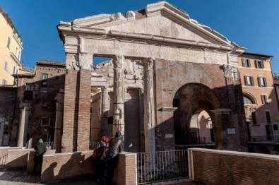 ROME, ITALY - DECEMBER 18: Inaugurated the restoration of the Portico d' Ottavia, the third phase just concluded with the cleaning, restoration and consolidation of the stone parts, plaster and frescoes: part of the inscription dedicated to Septimius Severus, and part of the fourteenth-century frescoes above the frontal arch, have been brought back to their former splendour on December 18, 2017 in Rome, Italy. The complex of the portico d' Ottavia was rebuilt by Augustus between 27 and 23 BC, in place of the oldest portico of Metello and dedicated to his sister Ottavia. It was later restored and partially rebuilt in 203 by Septimius Severus after the destruction caused by a fire in 191. (Photo by Stefano Montesi - Corbis/Corbis via Getty Images)
