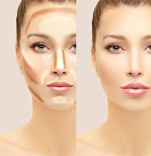 Make up woman face. Contour and highlight makeup..
