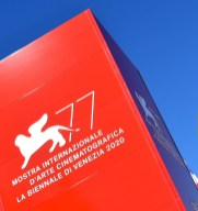 The logo of the 77th Venice Film Festival is pictured outside the festival's palace on the eve of the festival's opening, on September 1, 2020 at Venice Lido, during the COVID-19 infection, caused by the novel coronavirus. (Photo by Alberto PIZZOLI / AFP) (Photo by ALBERTO PIZZOLI/AFP via Getty Images)