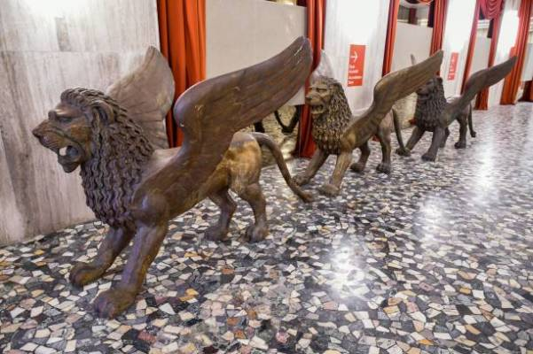 Sculptures of lions decorated the entrance hall of the Palazzo del Casino near the festival palace, on the eve of the opening of the 77th Venice Film Festival on September 1, 2020 at Venice Lido, during the COVID-19 infection, caused by the novel coronavirus. (Photo by Alberto PIZZOLI / AFP) (Photo by ALBERTO PIZZOLI/AFP via Getty Images)