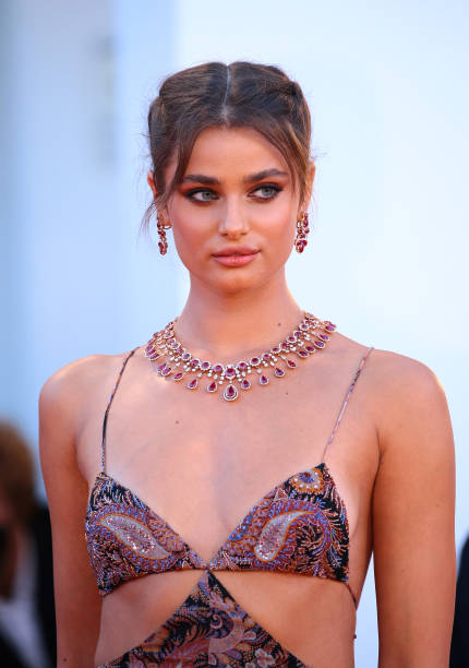 Taylor Hill poses on the red carpet with the Golden Lion Lifetime achievement award after the Opening Ceremony during the 77th Venice Film Festival on September 02, 2020 in Venice, Italy. (Photo by Matteo Chinellato/NurPhoto via Getty Images)