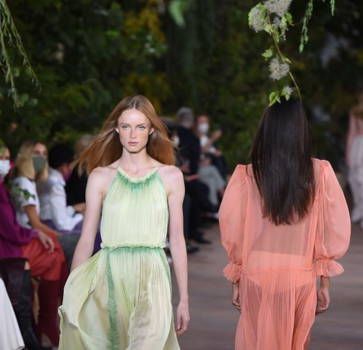 MILAN, ITALY - SEPTEMBER 23: Models walk the runway at the Alberta Ferretti fashion show during the Milan Women's Fashion Week on September 23, 2020 in Milan, Italy. (Photo by Stefania D'Alessandro/WireImage)