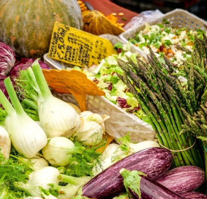Rome, Italy -- A view of fennel, eggplant, pumpkin, asparagus. The traditional Italian cuisine is based on the Mediterranean diet, considered the most balanced and sustainable in the world, composed of natural and fresh and healthy products, including fruit, vegetables and cereals. Image in HD format