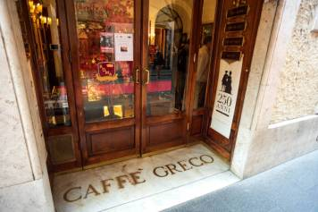 ROME, ITALY - OCTOBER 24: The entrance of the Antico Caffe Greco, in Via dei Condotti, central Rome on October 24, 2019 in Rome, Italy. Caffe Greco opened in 1760 on the Via Condotti near the famous Spanish Steps. A row over a rent rise by the current owners, the Israelite Hospital, threatens the business as a judge ruled that the current manager, Antico Caffe Greco, should be evicted from the property. (Photo by Stefano Montesi - Corbis/Getty Images)