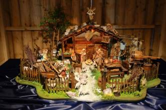 """Nativity scene by Riccardo Izzi, made entirely by hand, inspired by the South Tyrolean barn of Selva dei Molini (BZ) during the inauguration of the exhibition """"100 nativity scene"""" under Bernini's colonnade in St. Peter's Square. Vatican City (Vatican), December 13th, 2020 (Photo by Grzegorz Galazka/Archivio Grzegorz Galazka/Mondadori Portfolio via Getty Images)"""