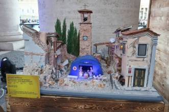 "Inauguration of the exhibition ""100 nativity scene"" under Bernini's colonnade in St. Peter's Square. Vatican City (Vatican), December 13th, 2020 (Photo by Grzegorz Galazka/Archivio Grzegorz Galazka/Mondadori Portfolio via Getty Images)"