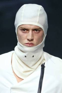 """ROME, ITALY - FEBRUARY 20: A model, balaclava detail, walks the runway at the Gall """"Nydia"""" Fashion Show during the Altaroma 2021 on February 20, 2021 in Rome, Italy. (Photo by Ernesto S. Ruscio/Getty Images)"""