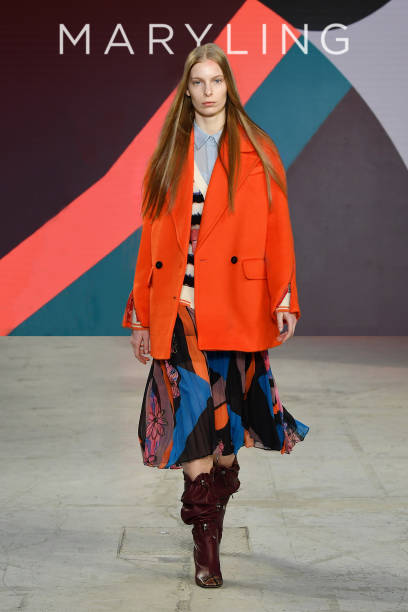 MILAN, ITALY - UNSPECIFIED: (EDITORS NOTE: Image has been digitally retouched)In this image released on February the 24th, a model walks the runway at the Maryling Fashion Show during the Milan Fashion Week Fall/Winter 2021/2022 on February 24, 2021 in Milan, Italy. (Photo by Jacopo M. Raule/Getty Images for Maryling)