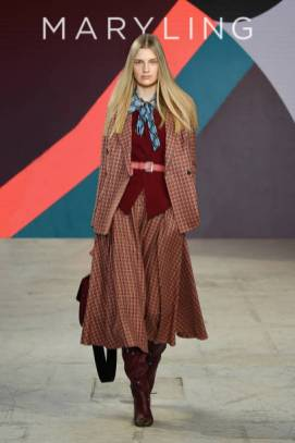 MILAN, ITALY - UNSPECIFIED: (EDITORS NOTE: Image has been digitally retouched) In this image released on February the 24th, a model walks the runway at the Maryling Fashion Show during the Milan Fashion Week Fall/Winter 2021/2022 on February 24, 2021 in Milan, Italy. (Photo by Jacopo M. Raule/Getty Images for Maryling)