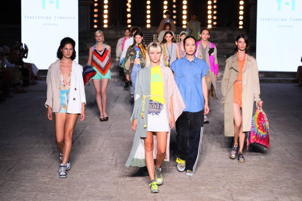 ROME, ITALY - JULY 08: Models walk the runway wearing a Yekaterina Ivankova dress at the Rome is My Runway #1 fashion show during Altaroma 2021 at Cinecitta Studios on July 08, 2021 in Rome, Italy. (Photo by Ernesto S. Ruscio/Getty Images)