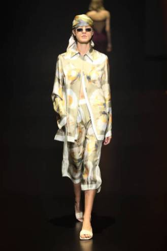 "ROME, ITALY - JULY 09: A model walks the runway at the Edoardo Gallorini ""Estasi Mediterranea"" fashion show during Altaroma 2021 at Cinecitta Studios on July 09, 2021 in Rome, Italy. (Photo by Ernesto S. Ruscio/Getty Images)"