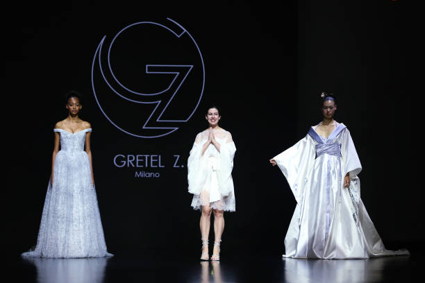 """ROME, ITALY - JULY 10: Designer Gretel Zanotti walks the runway at the Gretel Z. """"Come Un'Estate A Kyoto"""" fashion show during Altaroma 2021 at Cinecitta Studios on July 10, 2021 in Rome, Italy. (Photo by Elisabetta Villa/Getty Images)"""
