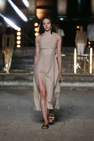 ROME, ITALY - JULY 10: A model walks the runway wearing a Homie dress at the Rome Is My Runway #2 fashion show during Altaroma 2021 at Cinecitta Studios on July 10, 2021 in Rome, Italy. (Photo by Elisabetta Villa/Getty Images)