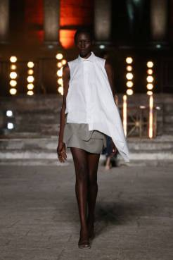 ROME, ITALY - JULY 10: A model walks the runway wearing a Gaiofatto dress at the Rome Is My Runway #2 fashion show during Altaroma 2021 at Cinecitta Studios on July 10, 2021 in Rome, Italy. (Photo by Elisabetta Villa/Getty Images)