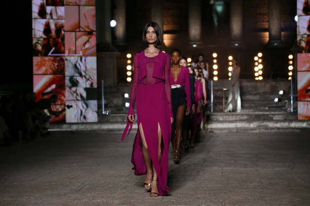 ROME, ITALY - JULY 10: Models walk the runway wearing a Gaiofatto dress at the Rome Is My Runway #2 fashion show during Altaroma 2021 at Cinecitta Studios on July 10, 2021 in Rome, Italy. (Photo by Elisabetta Villa/Getty Images)