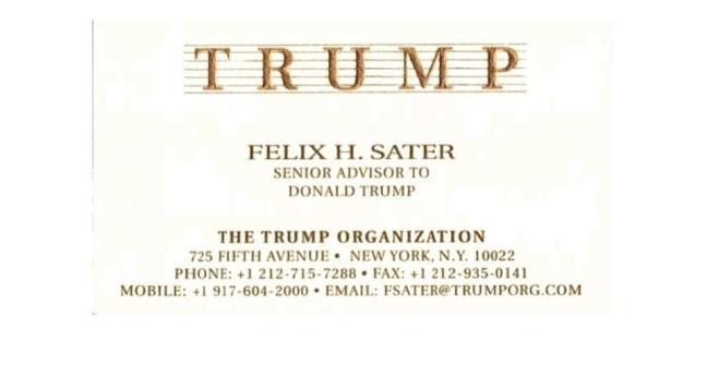Felix Sater's Trump Organization business card.