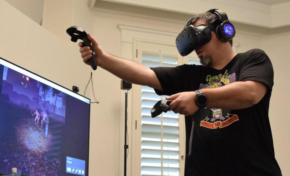Yours truly mowing down monsters in The Brookhaven Experiment for HTC Vive