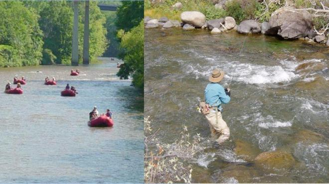 Recreation and tourism are essential to WMD. - Rafting image - courtesy Nadine Grabiana; Fishing - Mike Cline, Wikipedia