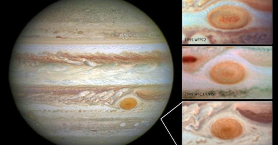 Images from the Hubble Space Telescope show the Great Red Spot shrinking in extent and changing in shape even from 1995 (top) to 2009 (middle) to 2014 (bottom).