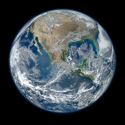 A picture of Earth from low orbit. Image: By NASA/NOAA/GSFC/Suomi NPP/VIIRS/Norman Kuring (- Blue Marble 2012) [Public domain], via Wikimedia Commons