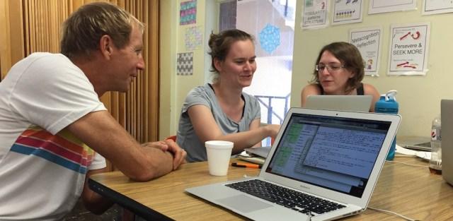 Left to Right: John Jones, Rachel Davis, and Christelle Vincent work on the LMFDB.