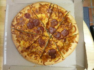 Here a lazy pizza cutter only got 9 pieces out of 4 cuts when he could have gotten 11.  Shame.