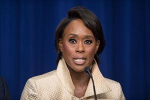 Author Margot Lee Shetterly speaks on a panel after a screening of the film at the White House in December, 2016. Image via Wikimedia Commons.