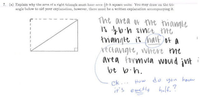 Sample student work on area problem, part 1a