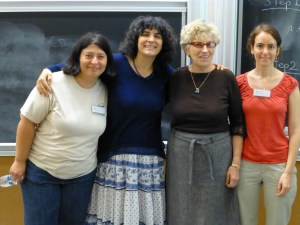 The wonderful conference organizers. From left to right, Alina Bucur, Leila Schneps, Marie-Jose Bertin, and Brooke Feigon.