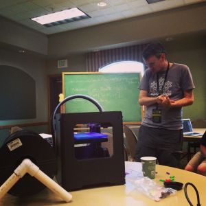 Henry Segerman walks us through 3D printing during one of many evening workshops.