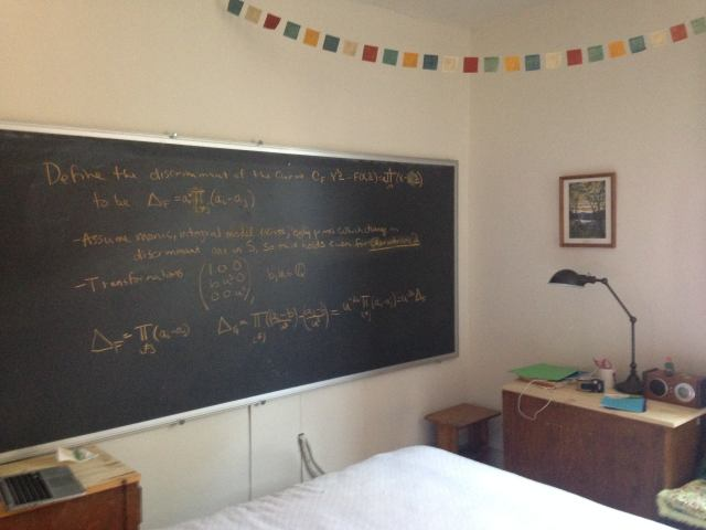 My incredible blackboard. Just the start of the great math hopefully to come from this house.