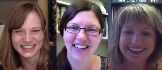 Skype meeting fun! Me, Katie Haymaker, and Gretchen Matthews in a Skype meeting this week.