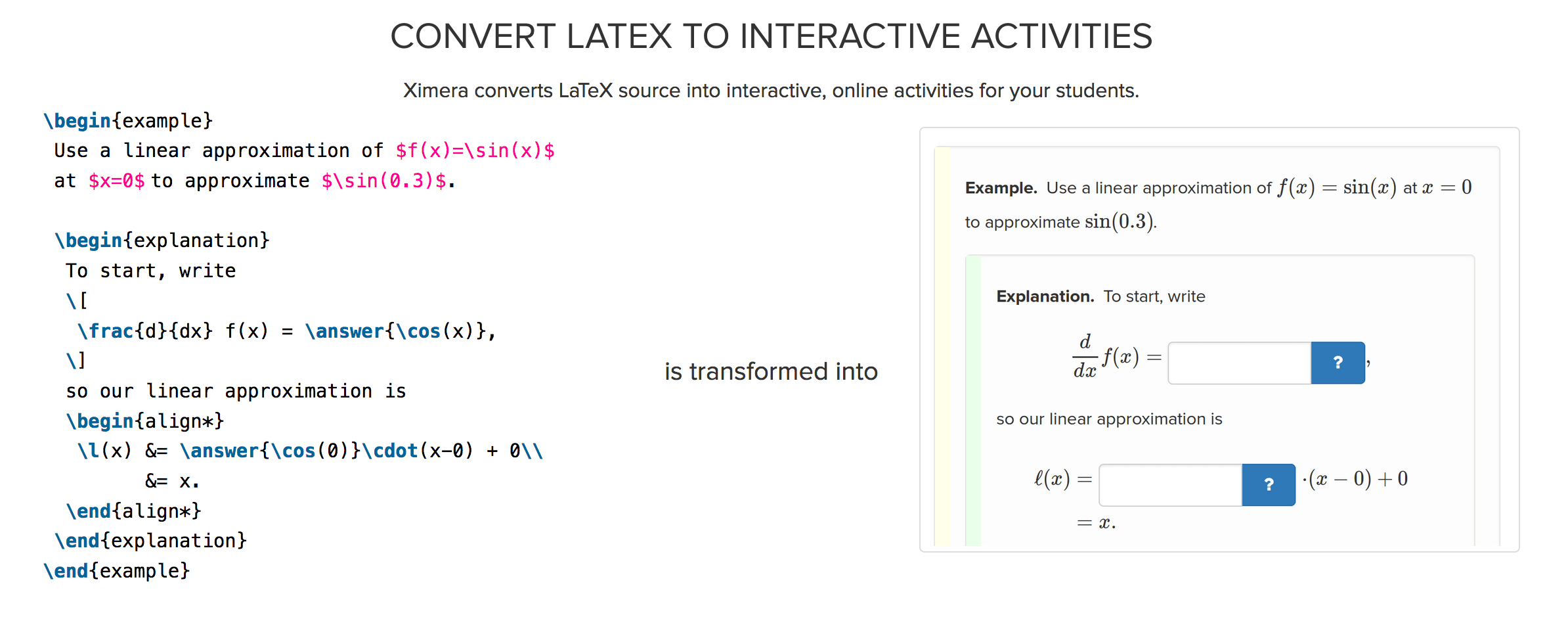 The Ximera Project: Turning LaTeX into Interactive Websites