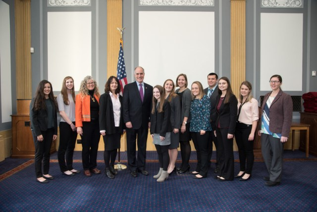 Villanova students and faculty, AWM President and President Elect, and Senator Robert Casey.