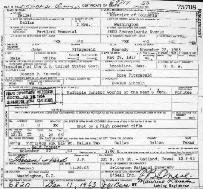 Parkland Kennedy Oswald And Ruby S Death Certificates