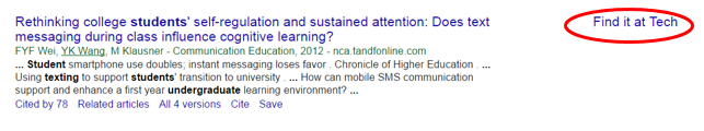 screenshot showing how to connect google scholar to tech resources
