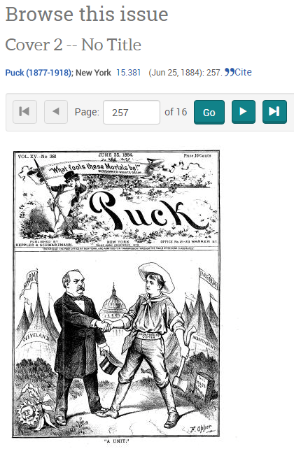 A screenshot of browsing Puck magazine, a popular political cartoon serial from the 1800s.