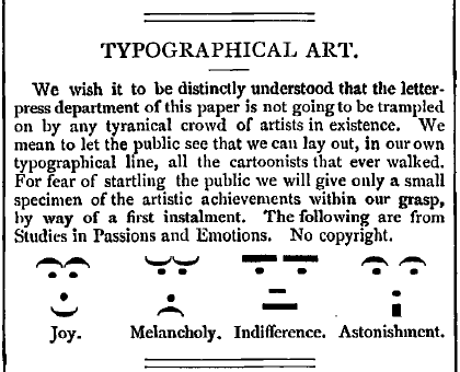 The invention of the emoticon, 1881