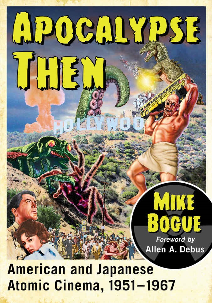 Book jacket featuring a giant godzilla, tentacle, spider, ant, & a man holding a school bus.