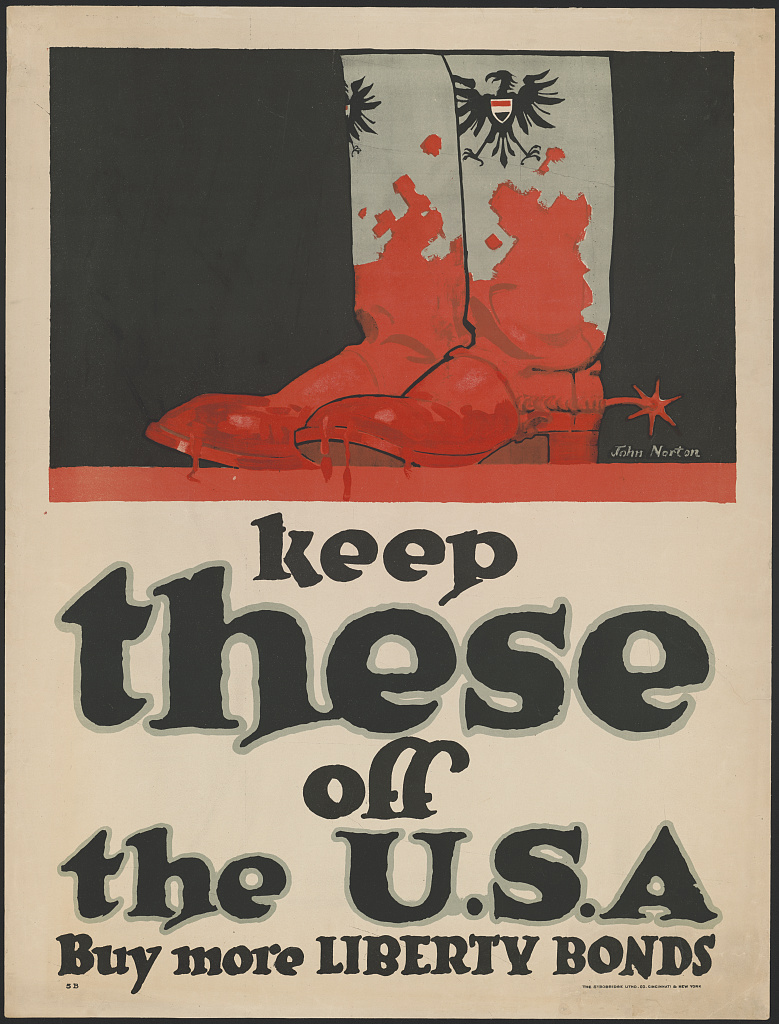 wwi propoganda poster featuring german boots caked with blood
