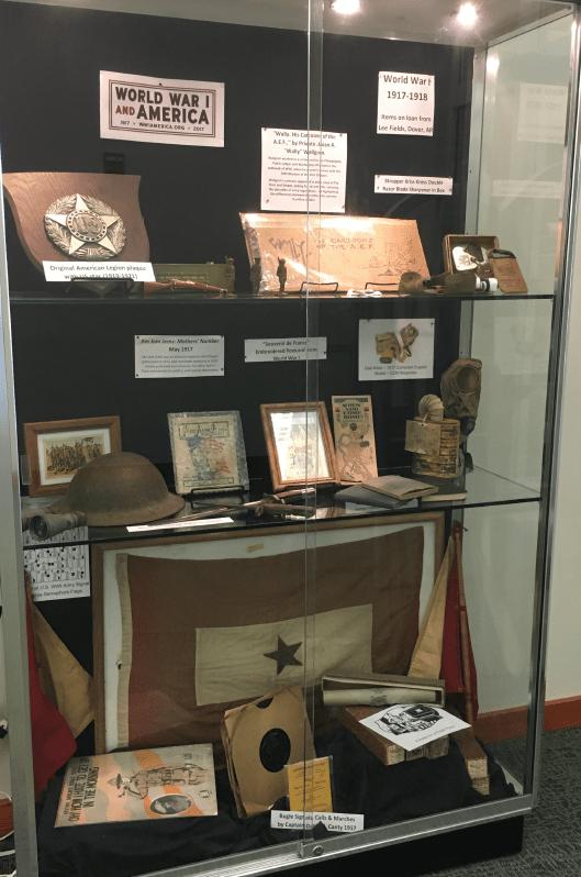 Exhibit of various ww1 artifacts