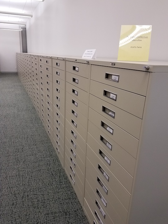 rows and rows of microfiche cabinets