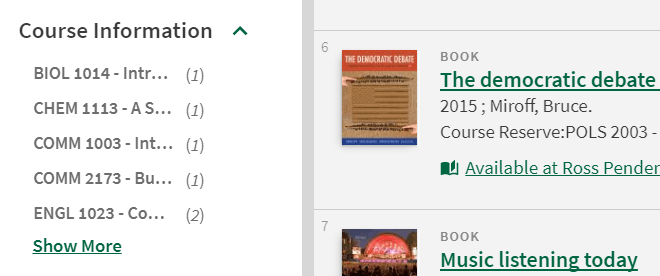 screenshot of textbooks filters