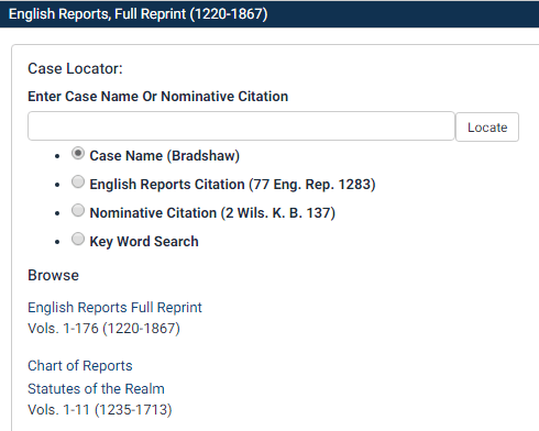 Screenshot of English Reports interface