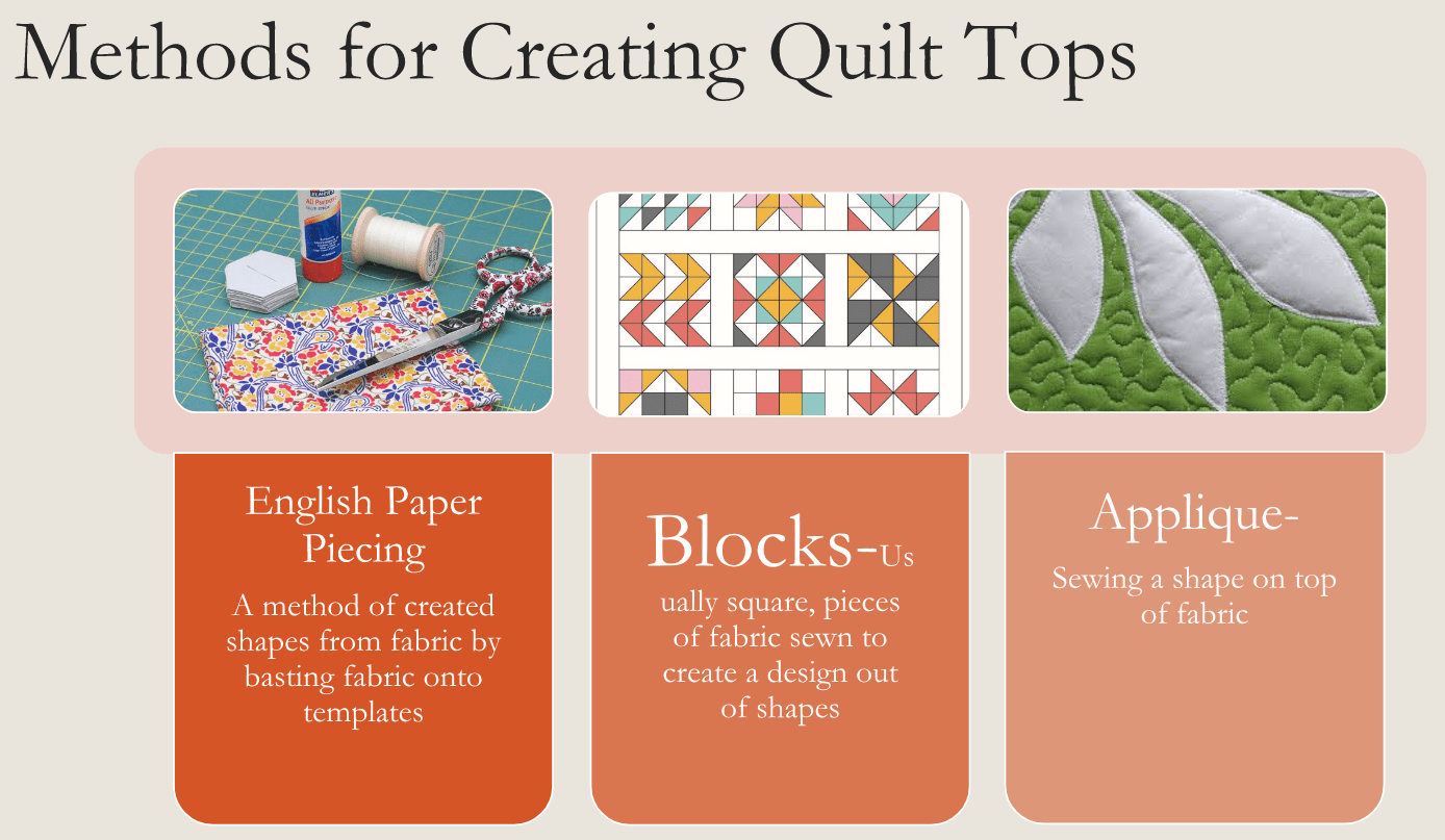 pictures of quilt tops with different methods of creating them.