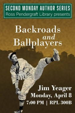 Second Monday author series poster featuring outline of a ball player as a map.